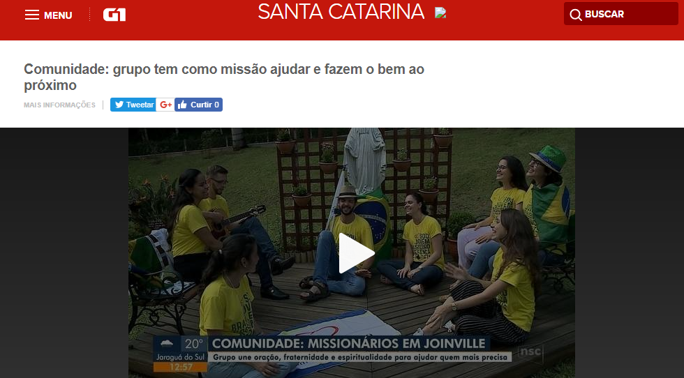 Assista a reportagem com os Missionários da Arca da Aliança no Jornal do Almoço